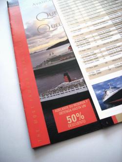 cunard folleto promocional, cruceros queen mary, queen elizabeth, diseño gráfico, maquetación, diseño editorial